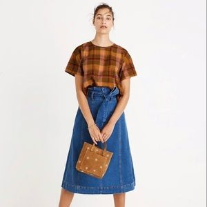 Madewell Plaid Boxy Top NWOT